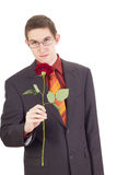 Young man with a rose Royalty Free Stock Photography