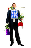 Young Man With Rose and shopping bag Royalty Free Stock Photo