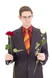 Young man with roses Stock Photos