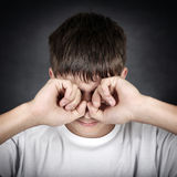 Young Man rub the Eyes Royalty Free Stock Photo