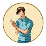Young man rubs his hands Royalty Free Stock Photography