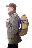 Young man with a rucksack on his back Royalty Free Stock Image
