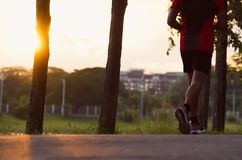 Young man run on street, Runner jogger at city park with exercis stock images