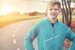 Young man runner portrait before starting Royalty Free Stock Photography