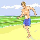 Young man running on the beach Stock Photography
