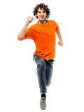 Young man running front view Stock Photo