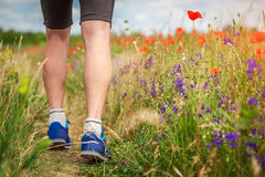 Young man running on poppy field Royalty Free Stock Photo