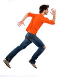 Young man running profile full length Stock Image