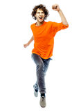 Young man running  screamming happy front view. One young man caucasian running  screamming happy front view  in studio white background Royalty Free Stock Photos