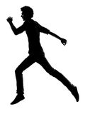 Young man  running silhouette Royalty Free Stock Image