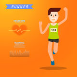 Young man running and training for marathon sport infographic Stock Image