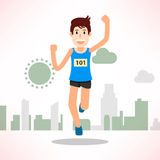 Young man running and training for marathon sport Stock Images