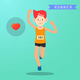 Young man running and training for marathon sport Royalty Free Stock Photography