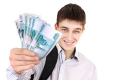 Young Man with a Russian Money royalty free stock images