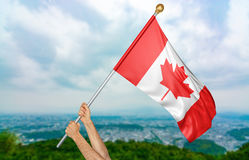 Young man`s hands proudly waving the Canada national flag in the sky, part 3D rendering royalty free stock image