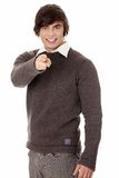 Young man's pointing. Stock Photography