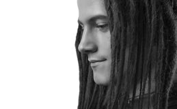 Young man's portrait. Stylish handsome sexy Guy with Dreadlocks Royalty Free Stock Images