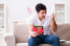 The young man in sad saint valentine concept Royalty Free Stock Image