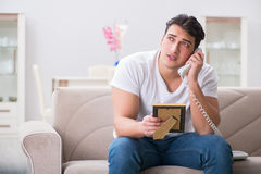 The young man in sad saint valentine concept Royalty Free Stock Photos