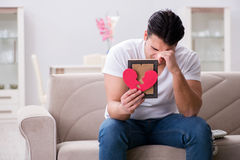 The young man in sad saint valentine concept Stock Images