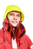 Young man sailor in red wind jacket. Sailing. Stock Images