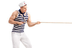 Young man in sailor uniform pulling a rope Royalty Free Stock Photo