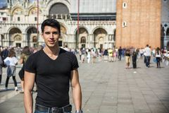 Young Man in San Marco Square in Venice, Italy Royalty Free Stock Photos