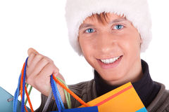 Young man in a Santa Claus hat Royalty Free Stock Photos
