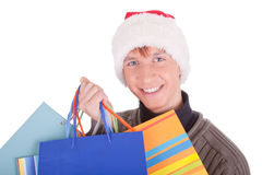 Young man in a Santa Claus hat Stock Photography