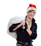 Young man in a Santa Claus hat Royalty Free Stock Photo