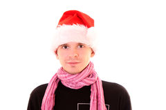Young man in santa hat Stock Photos