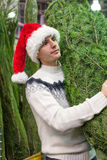 Young man in Santa hat buying christmas tree Royalty Free Stock Photography