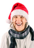 Young Man in Santa Hat Royalty Free Stock Images