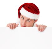Young man in Santa hat Stock Photo