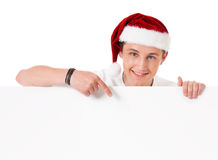 Young man in Santa hat Royalty Free Stock Photo