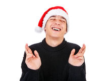 Young Man in Santa Hat Royalty Free Stock Image