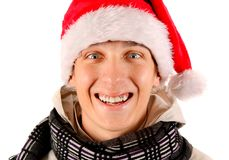 Young Man in Santa Hat Stock Image