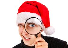 Young Man with Magnifying Glass Royalty Free Stock Photo