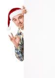 Young man in Santa hat Stock Photos