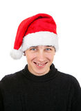 Young Man in Santa Hat Stock Images