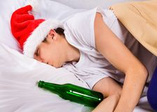 Young Man sleep in Santa Hat stock image