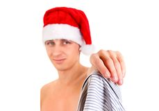 Young Man in Santa Hat Stock Photography