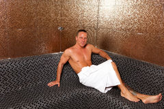 Young Man In Sauna Stock Image