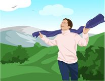 Young man with scarf. Enjoying the hills royalty free illustration