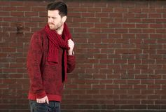 Young man with scarf outdoors Royalty Free Stock Photography