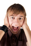 Young man screaming. Royalty Free Stock Photos