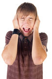Young man screaming. Royalty Free Stock Image