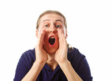Young man screaming Stock Photography