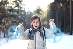 Young man is screaming on a cross-country path Stock Photo