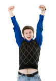 Young man screaming with his fists in the air Stock Photos
